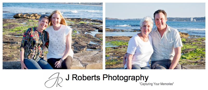 Family portraits with past wedding clients at the same location North Narrabeen Beach